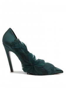 emerald green heels pointed