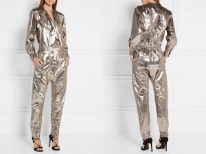 metallic silver jumpsuit