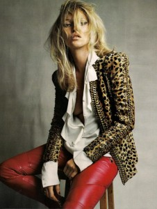 Kate Moss leopard leather