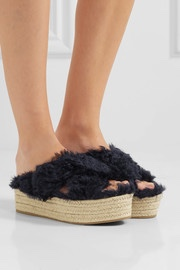feather black platform sandals
