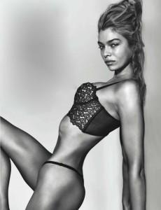 black and white lingerie model