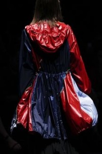 runway coat red blue