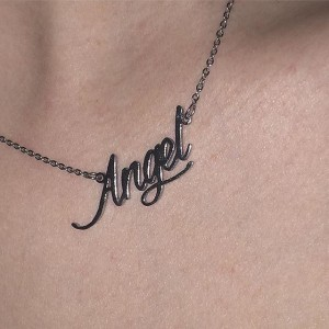 angel necklace engraved